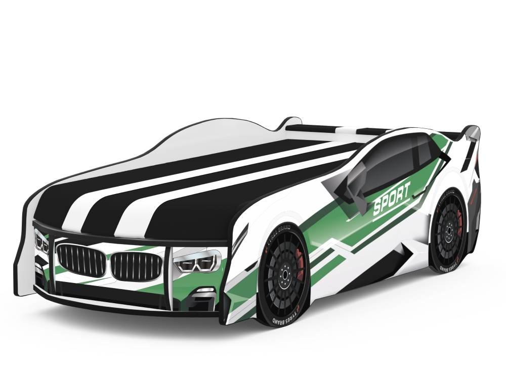 кровать машина спорт космос зеленая