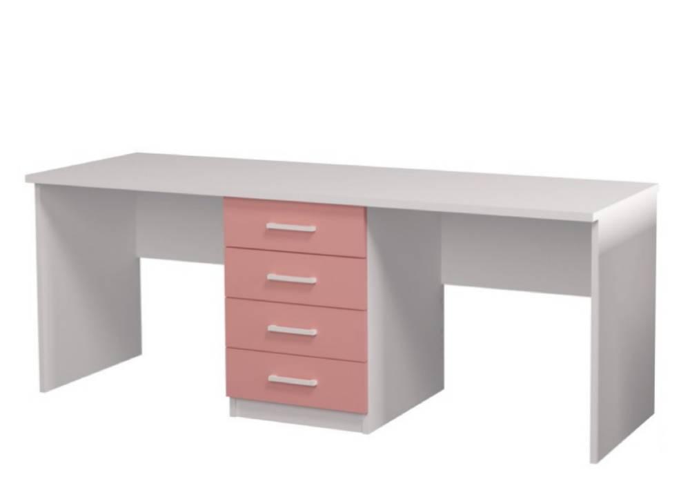 письменный стол розовый для двоих детей