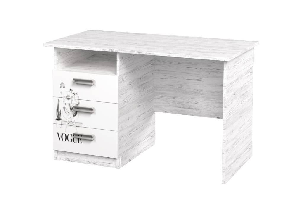 письменный стол с 3 ящиками аляска vogue с полочкой