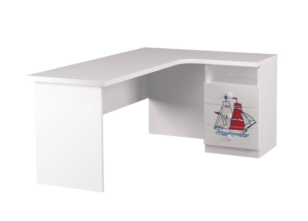 угловой стол детский с 3 ящиками кораблик