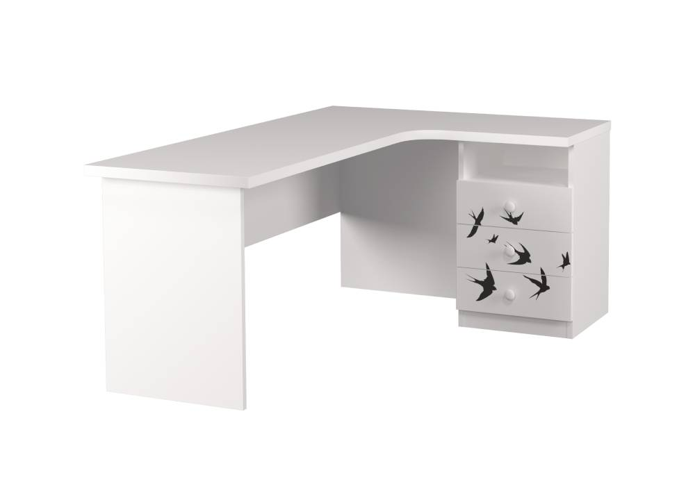 угловой стол детский с 3 ящиками ласточки