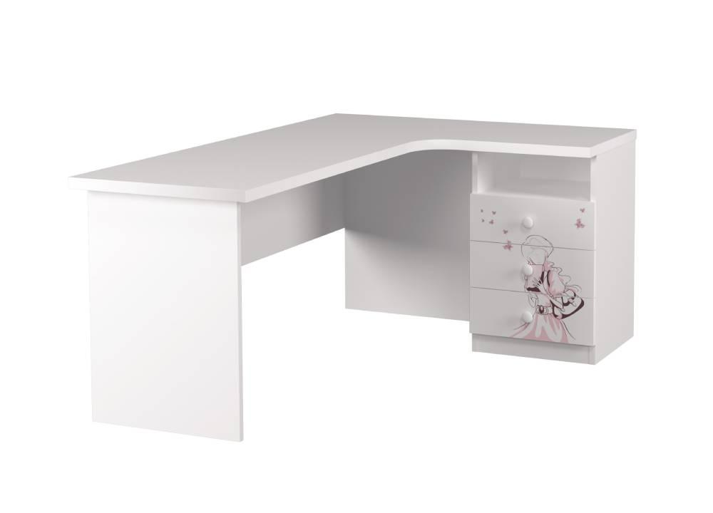 угловой стол детский с 3 ящиками нежность
