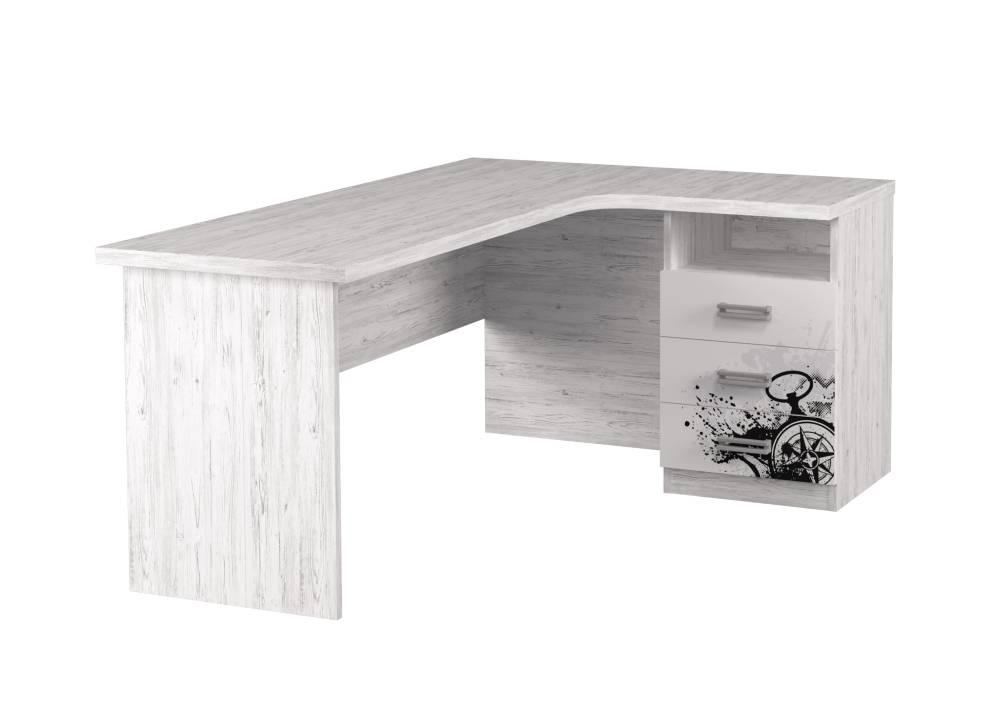 угловой стол тревел аляска белый с рисунком