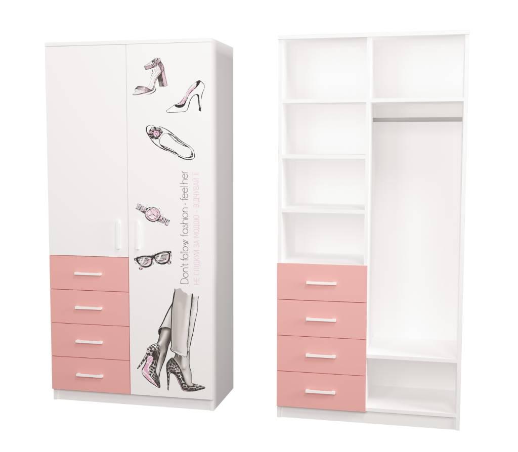 шкаф с 4 ящиками fashion розовый с рисунком