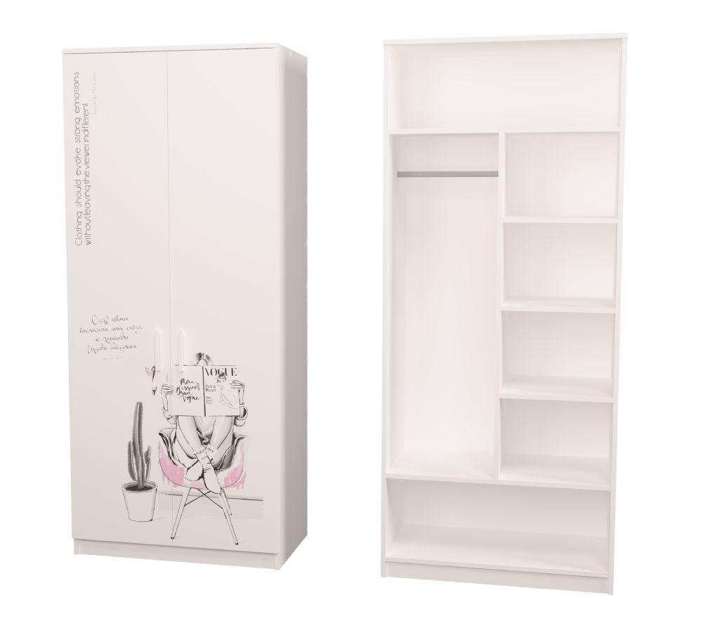шкаф в детскую белый fashion с полочками и штангой
