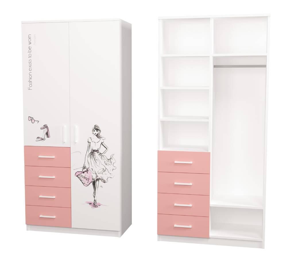 шкаф с 4 ящиками fashion розовый