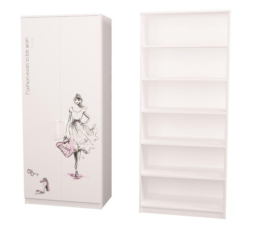 шкаф в детскую белый fashion с полочками