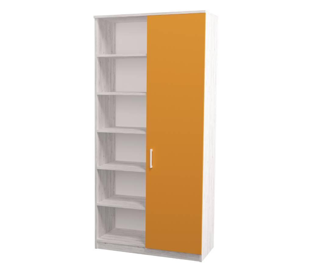 детский шкаф teenstyle аляска с 1 дверкой оранжевый