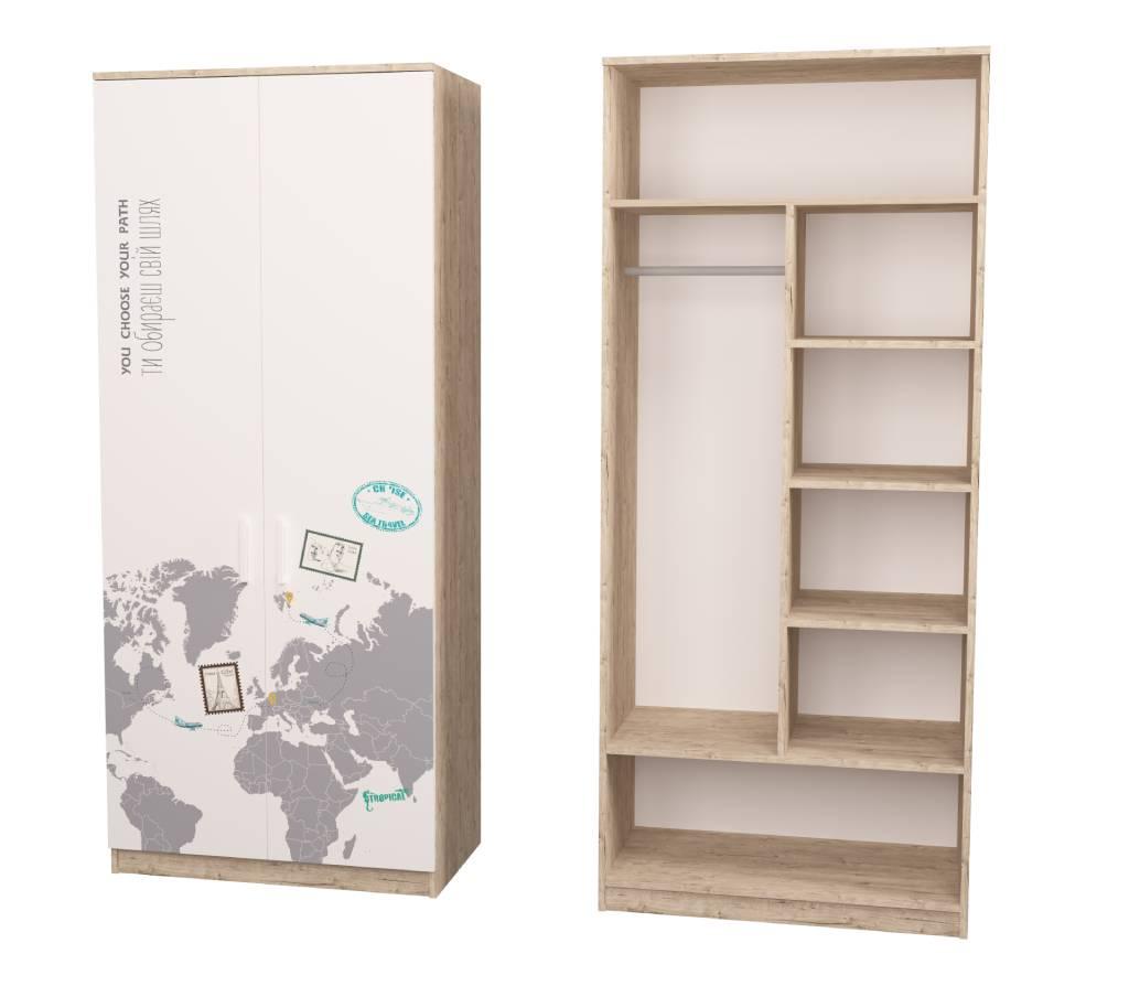 комбинированный шкаф в детскую с полками teenstyle