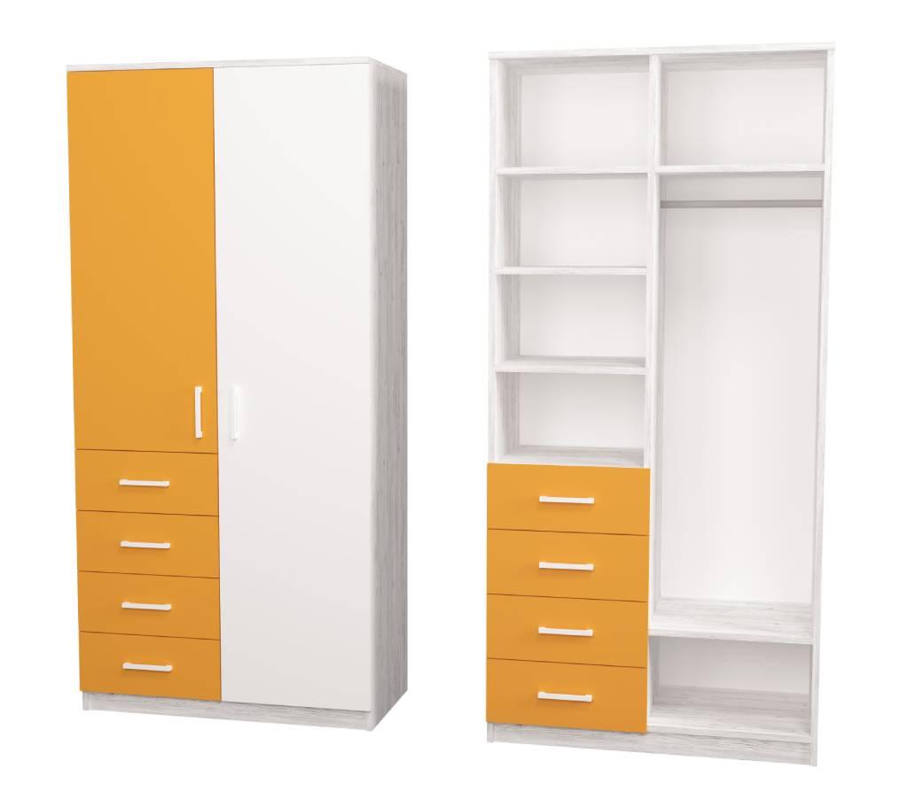 детский шкаф teenstyle аляяска оранжевый