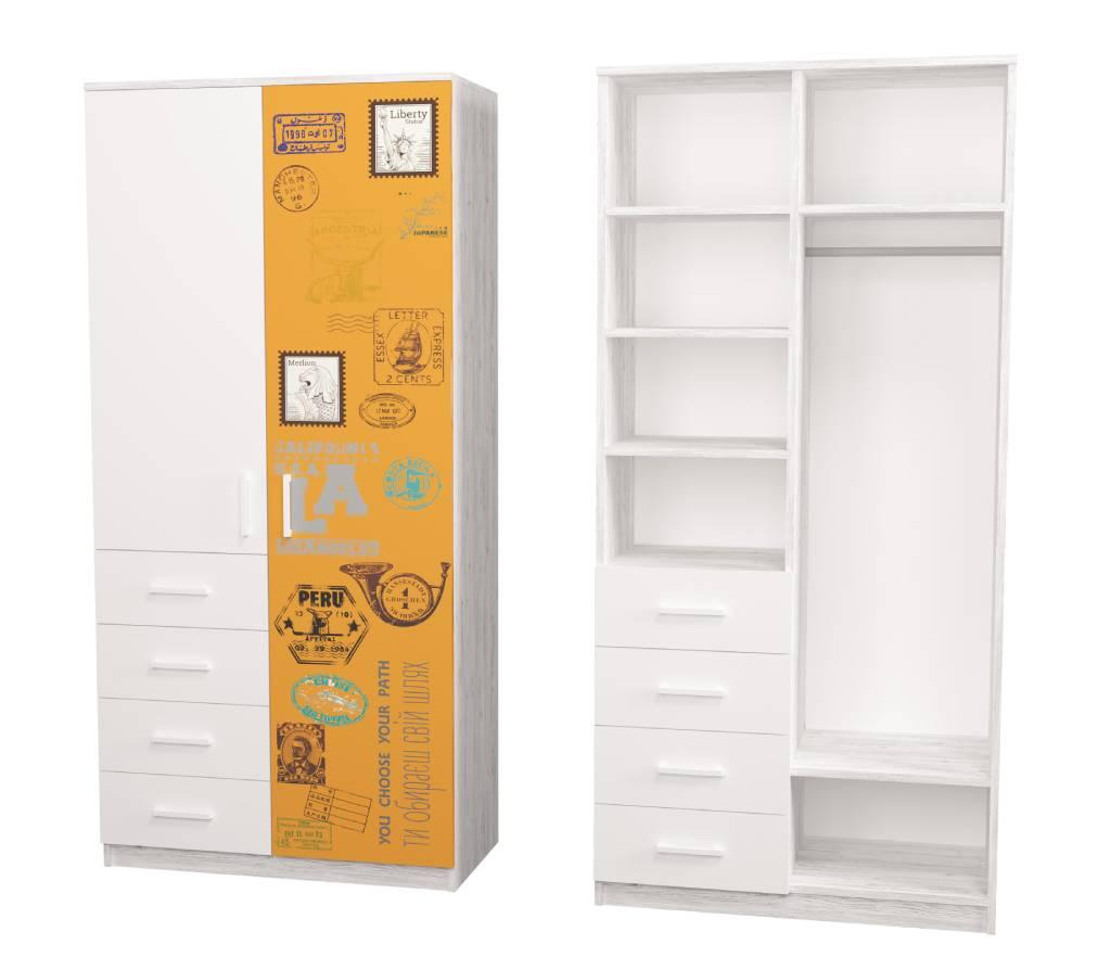 шкаф с 4 ящиками fashion оранжевый с белым аляска