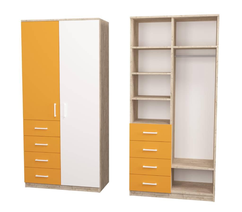 шкаф с 4 ящиками fashion оранжевый с белым шервуд