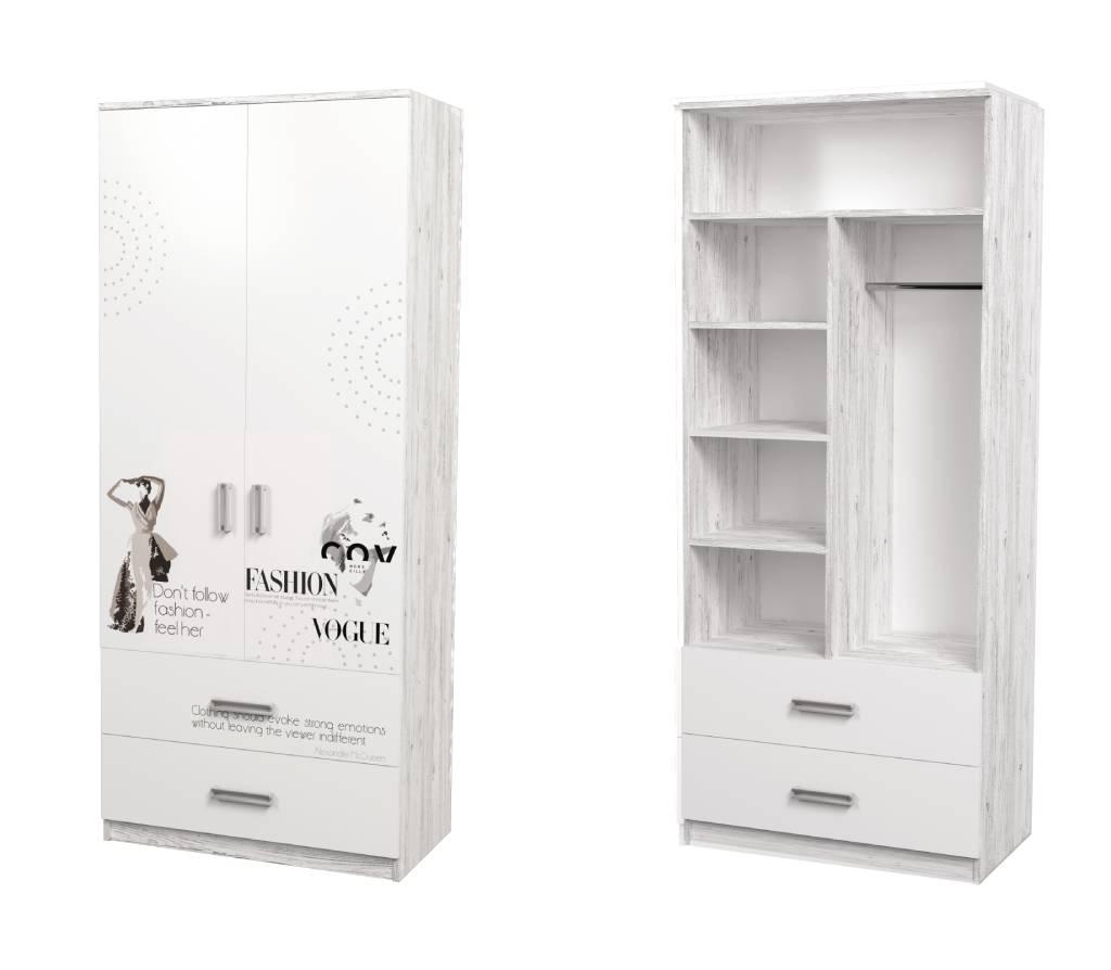 детский шкаф с трубой полками и ящиками fashion белый