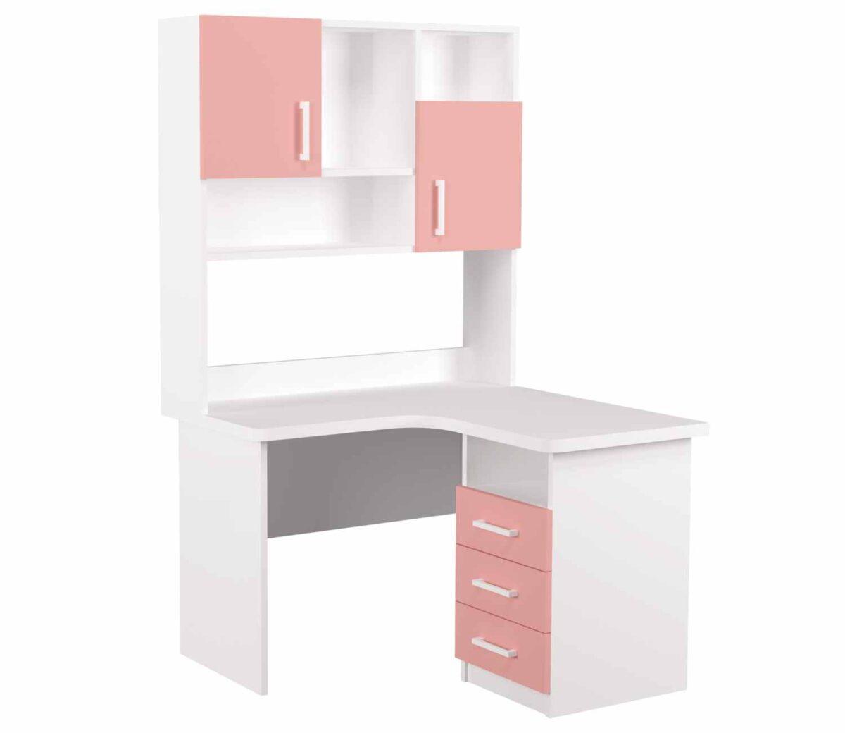 угловой детский стол с надстройкой розовая 3 ящика