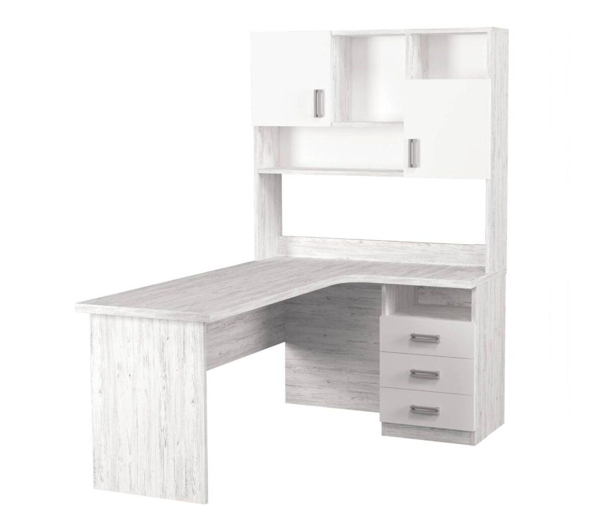 угловой стол с надстройкой тревел аляска белый