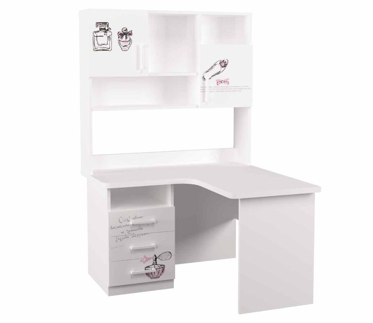 угловой стол с надстройкой fashion и 3 ящиками белый