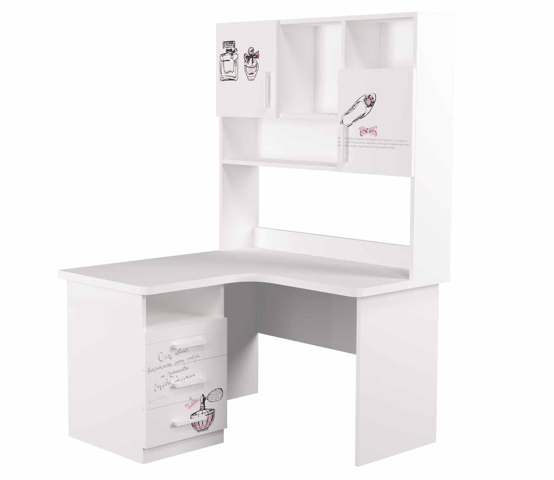 угловой стол с надстройкой fashion и 3 ящиками