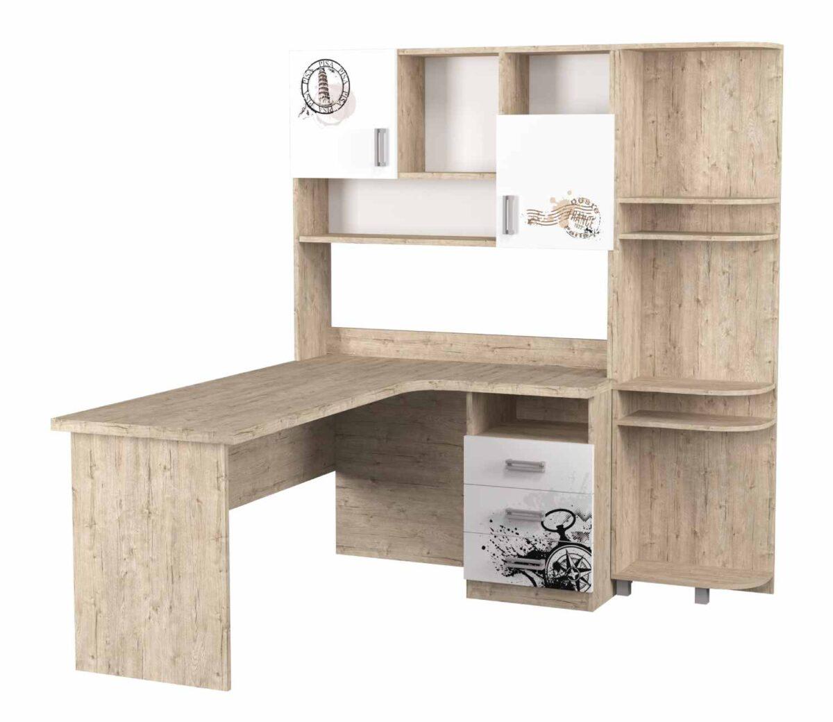 угловой стол с надстройкой и эркером шервуд белый с рисунком