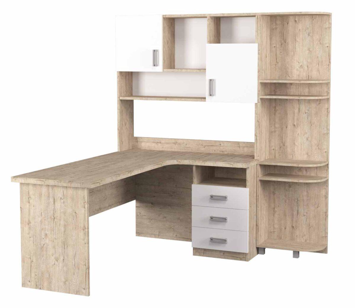 угловой стол с надстройкой и эркером шервуд белый