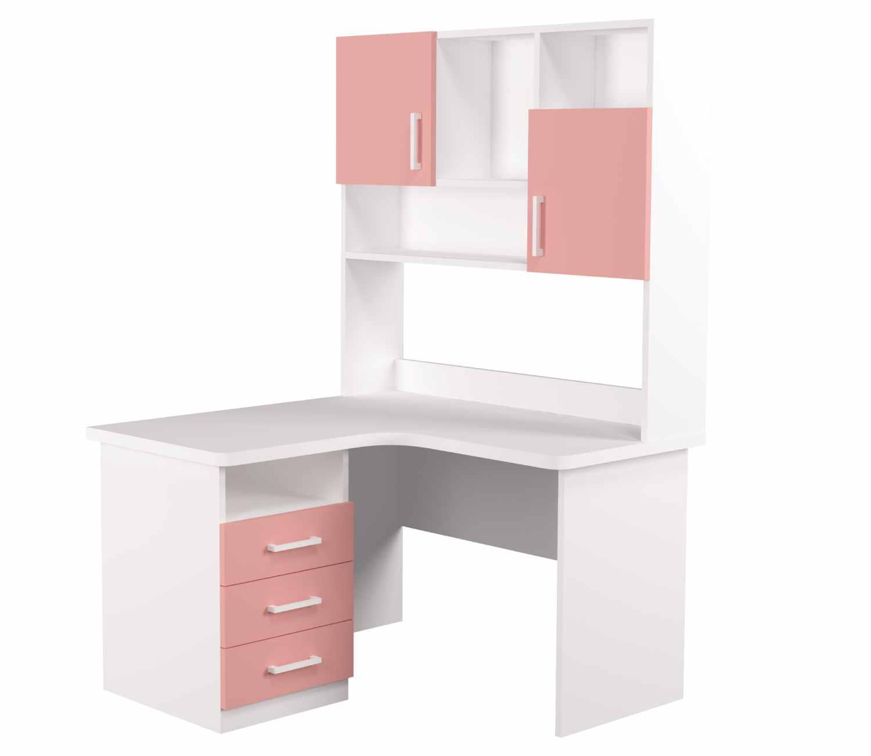 угловой детский стол с надстройкой розовая широкая столешница