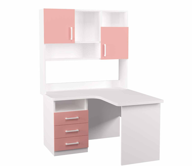 угловой детский стол с надстройкой розовая широкая столешница 3 ящика