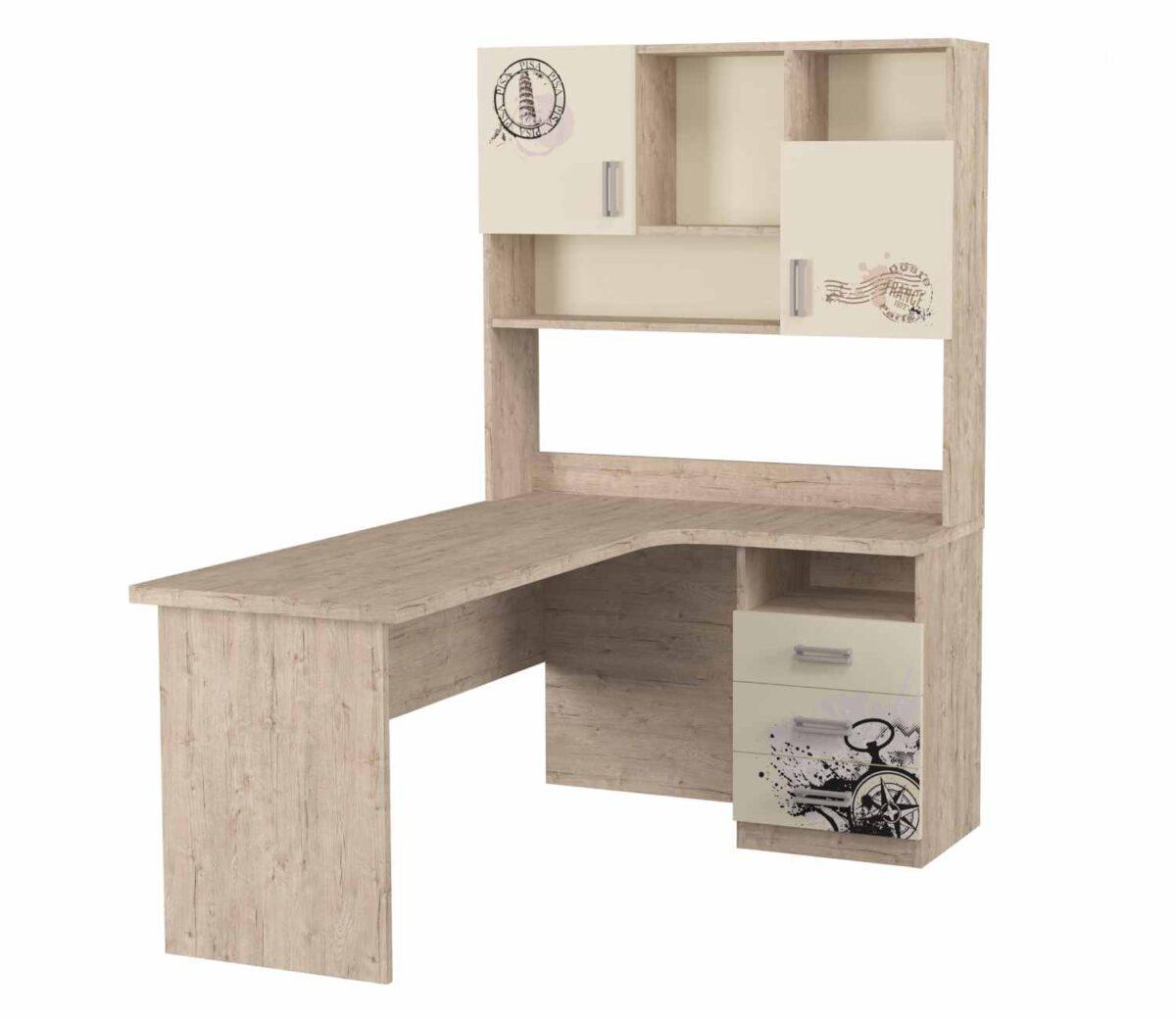 угловой стол с надстройкой и рисунком ваниль
