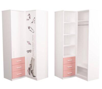 угловой шкаф подростковый розовый с белым fashion