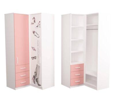 угловой шкаф подростковый розовый fashion