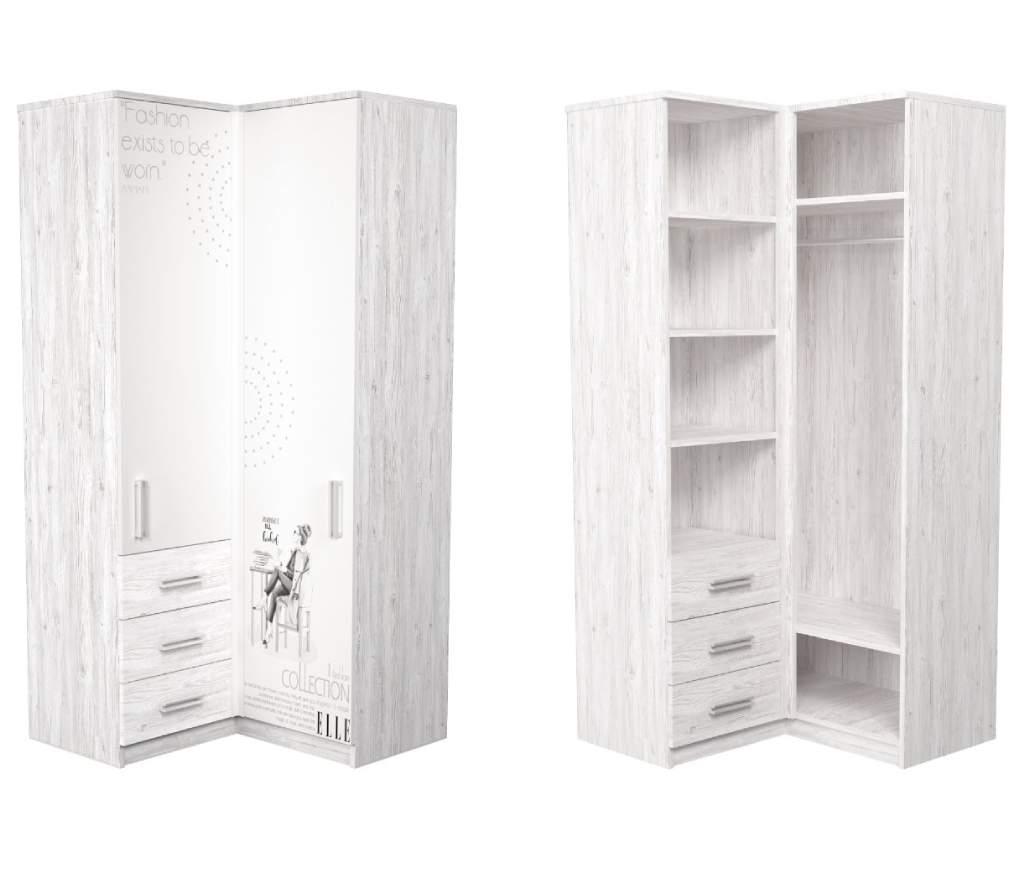 угловой шкаф в детскую аляска белый с рисунком