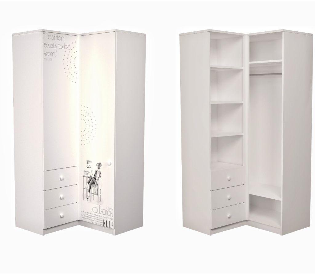 угловой шкаф в детскую белый с рисунком