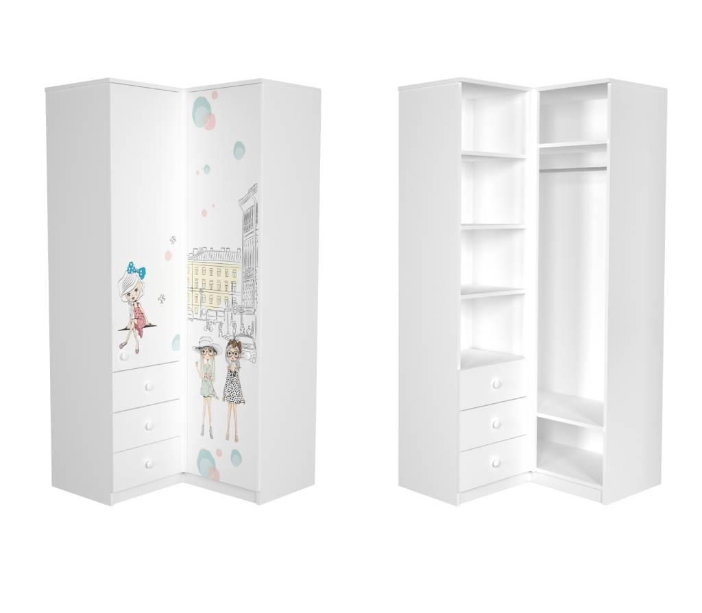 угловой шкаф в детскую гламур для девочки
