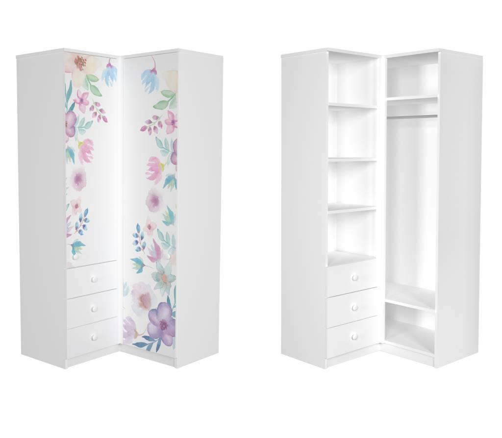 угловой шкаф в детскую цветы