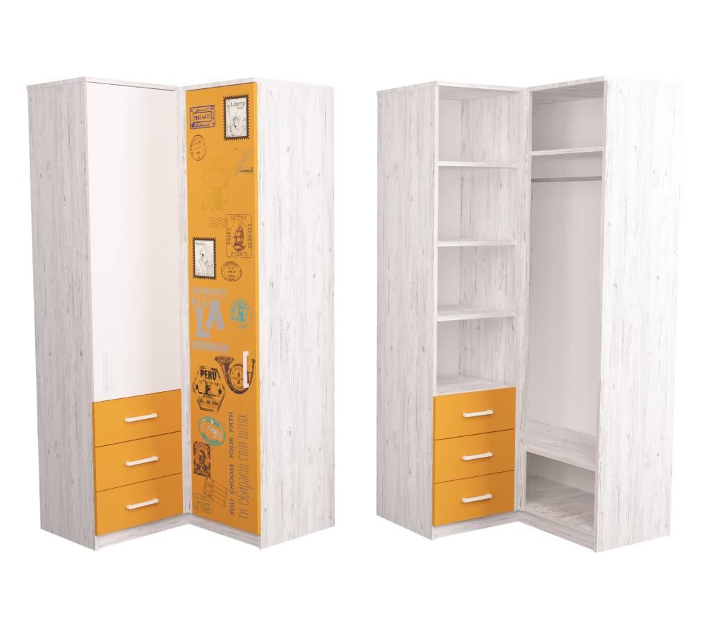 угловой шкаф подростковый fashion аляска оранжевый