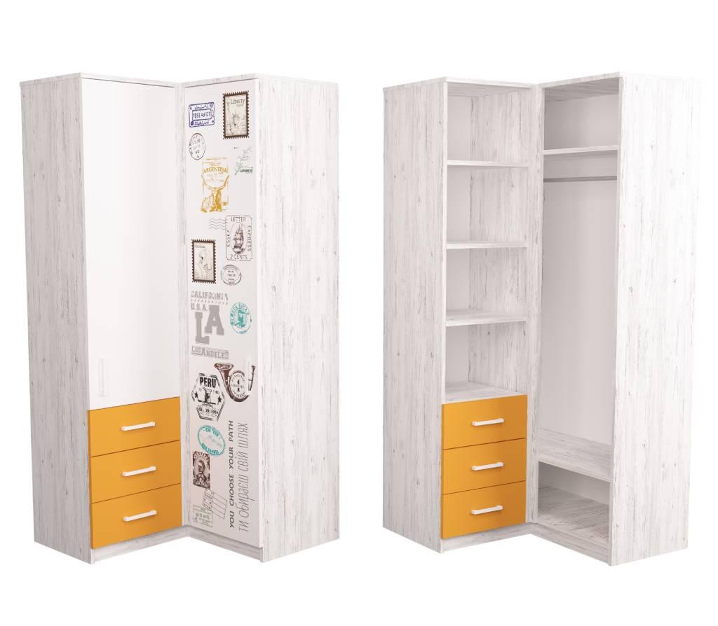 угловой шкаф подростковый с рисунком fashion аляска