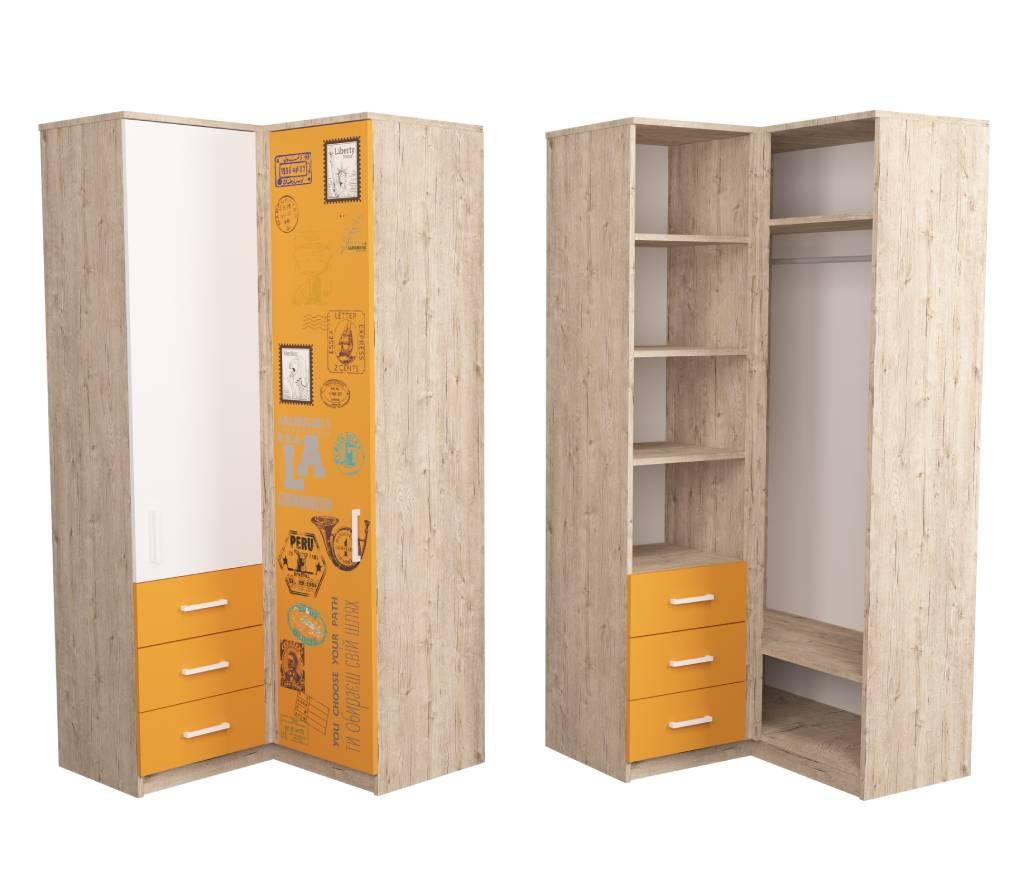 угловой шкаф подростковый оранжевый fashion шервуд
