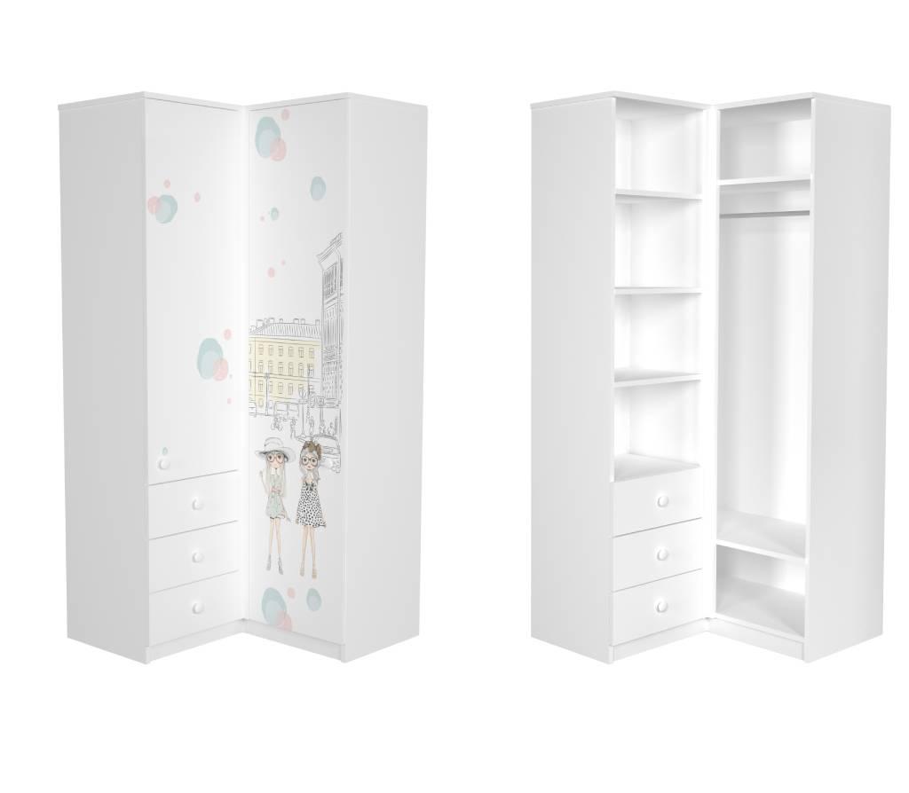 угловой шкаф в детскую париж для девочки