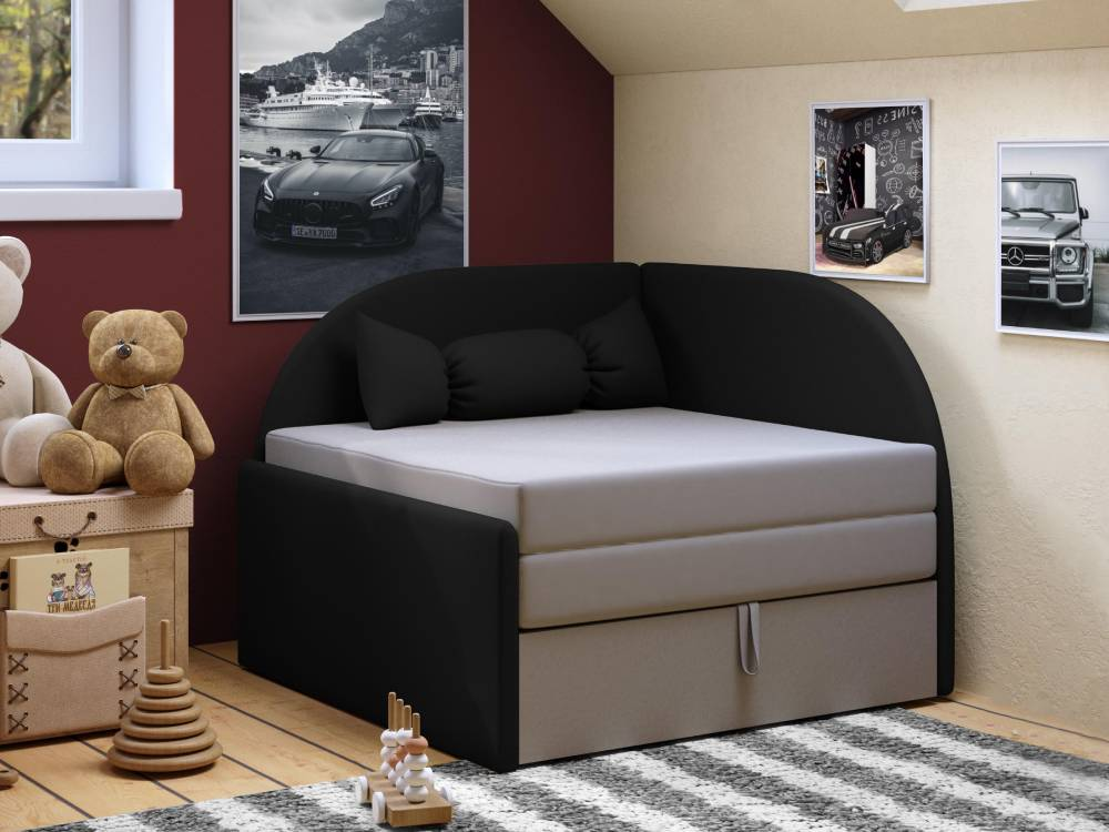 детский диванчик малютка черно серый